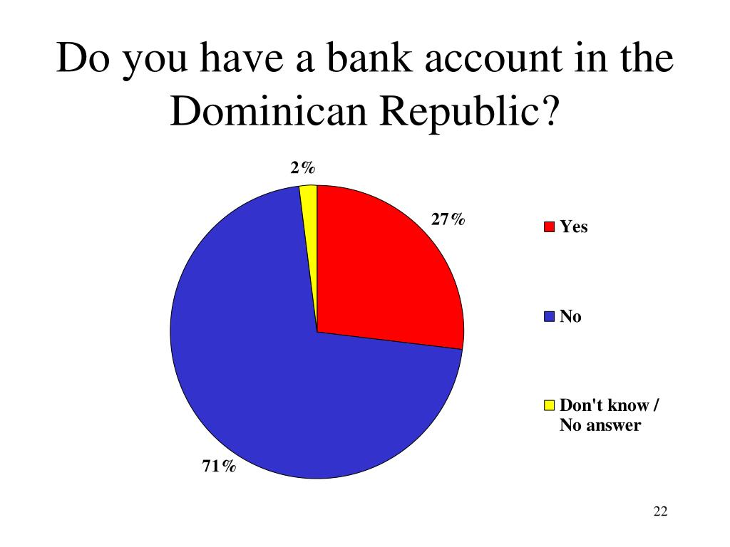 Do you have a bank account in the Dominican Republic?