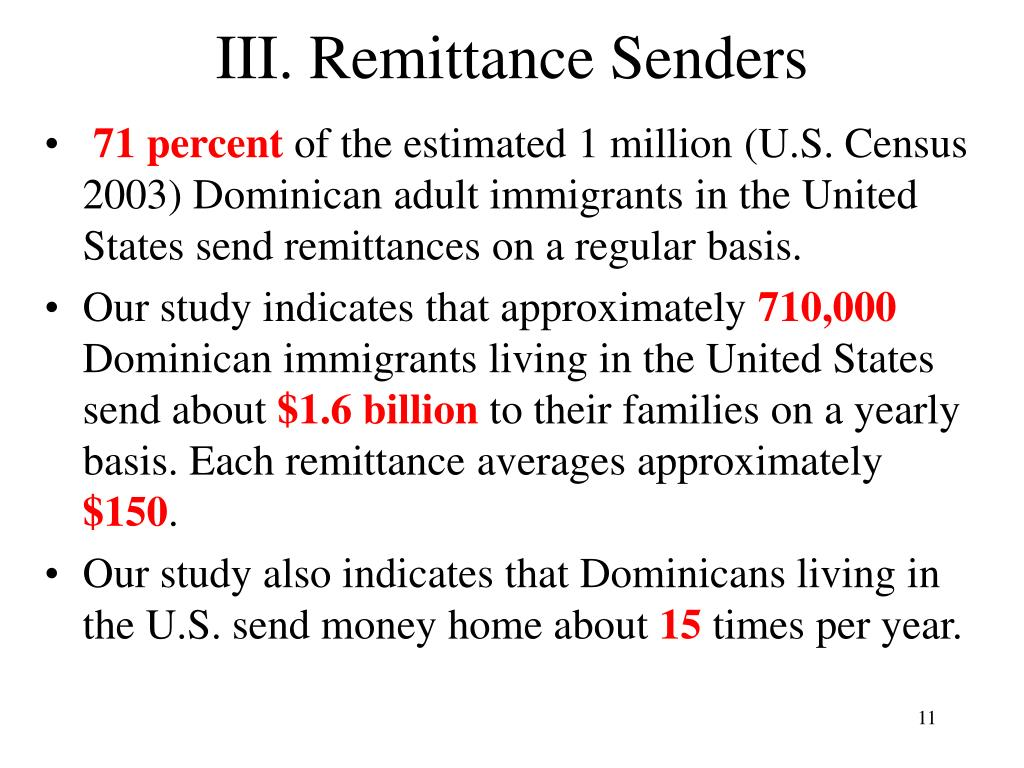 III. Remittance Senders