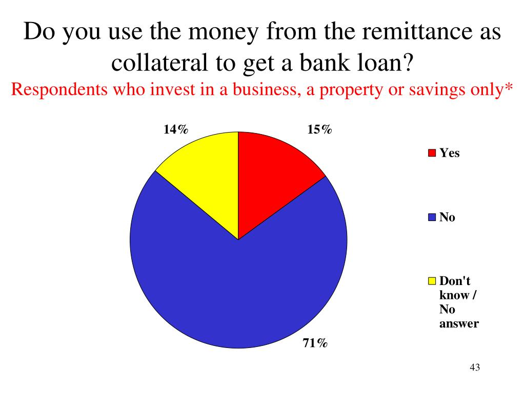 Do you use the money from the remittance as collateral to get a bank loan?