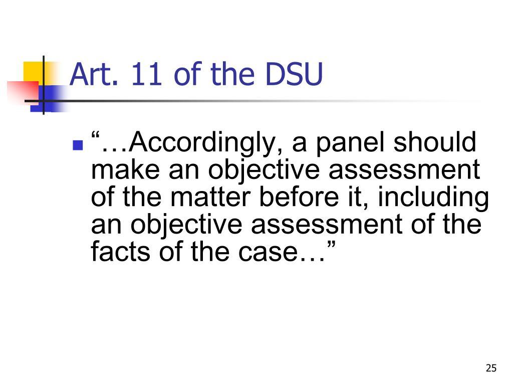 Art. 11 of the DSU