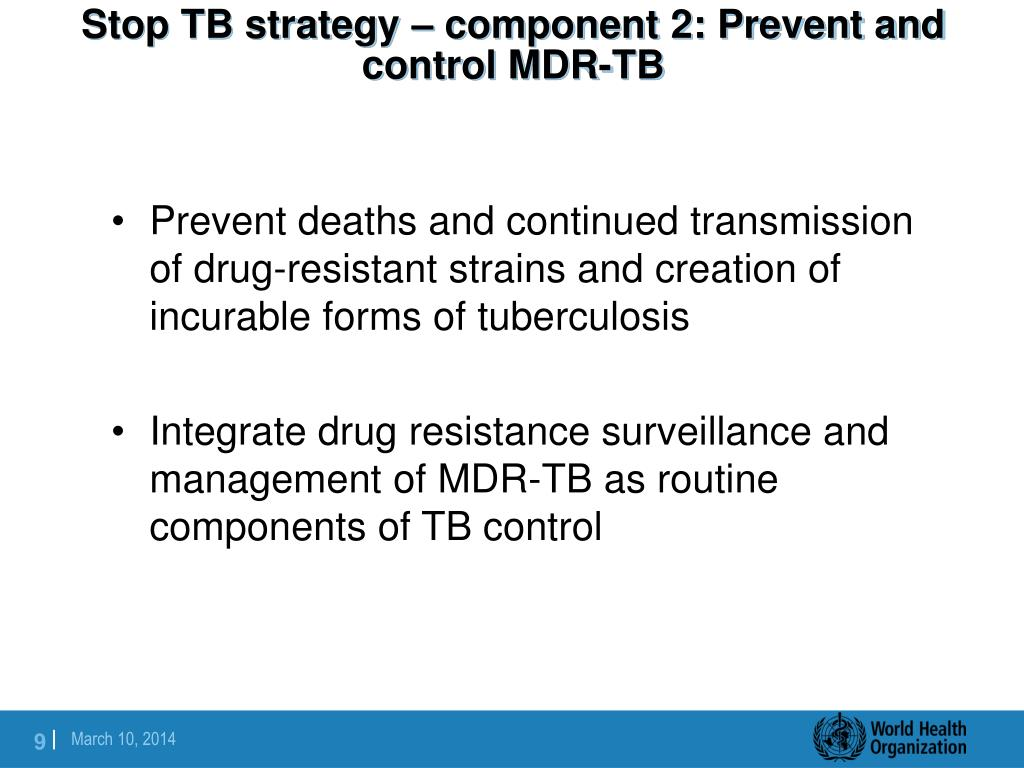 Stop TB strategy – component 2: Prevent and control MDR-TB