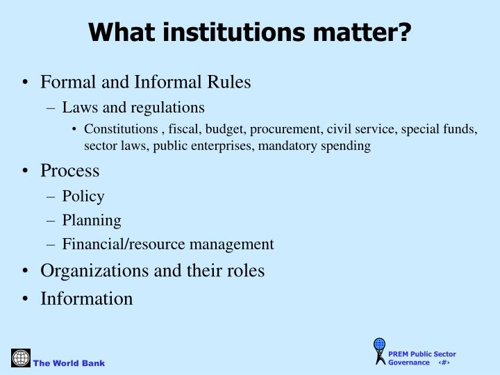 What institutions matter