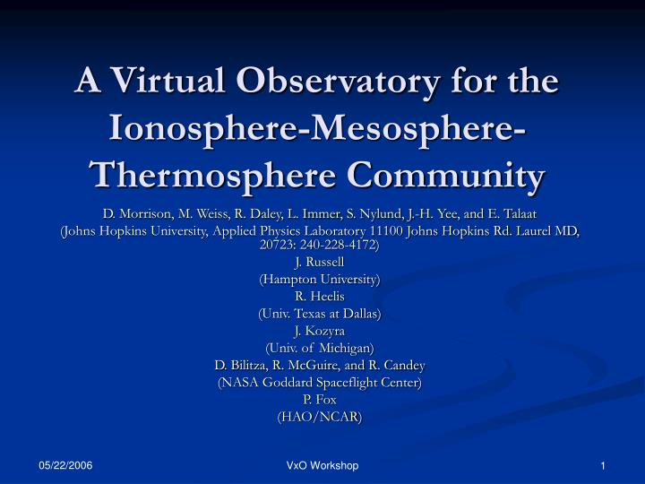 A virtual observatory for the ionosphere mesosphere thermosphere community
