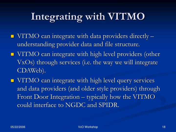 Integrating with VITMO