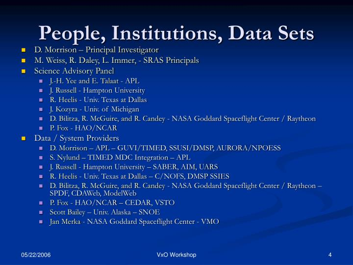 People, Institutions, Data Sets