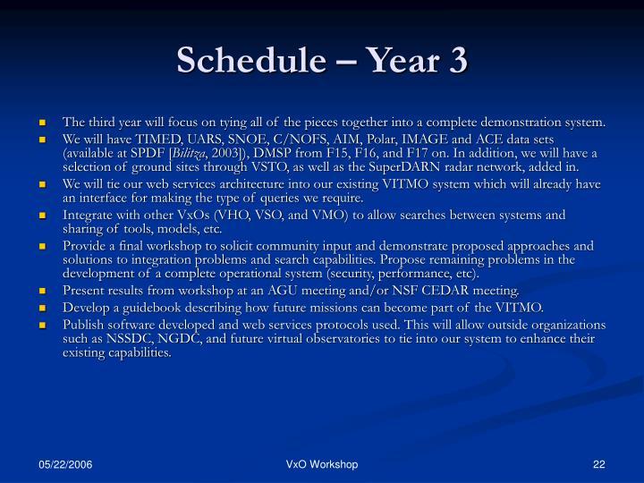 Schedule – Year 3