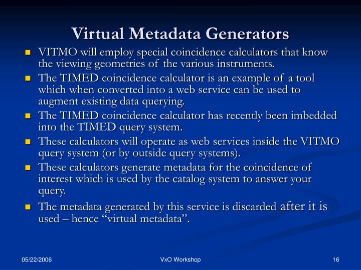 Virtual Metadata Generators
