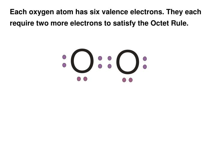 Each oxygen atom has six valence electrons. They each
