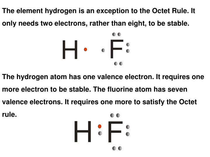The element hydrogen is an exception to the Octet Rule. It