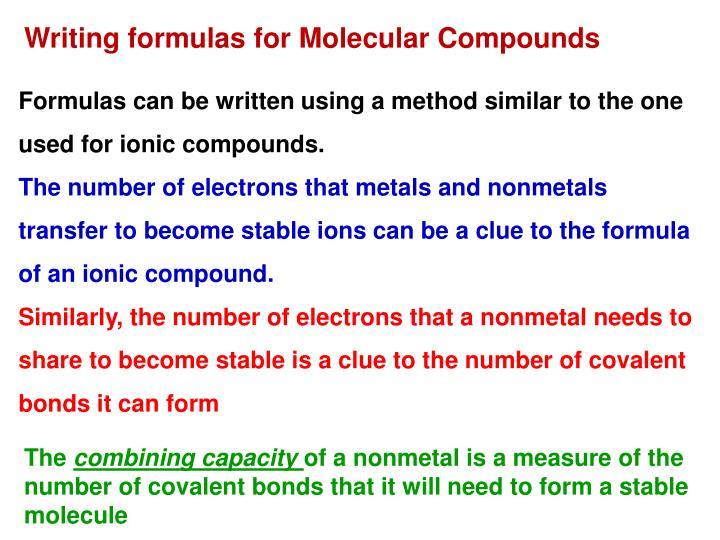 Writing formulas for Molecular Compounds