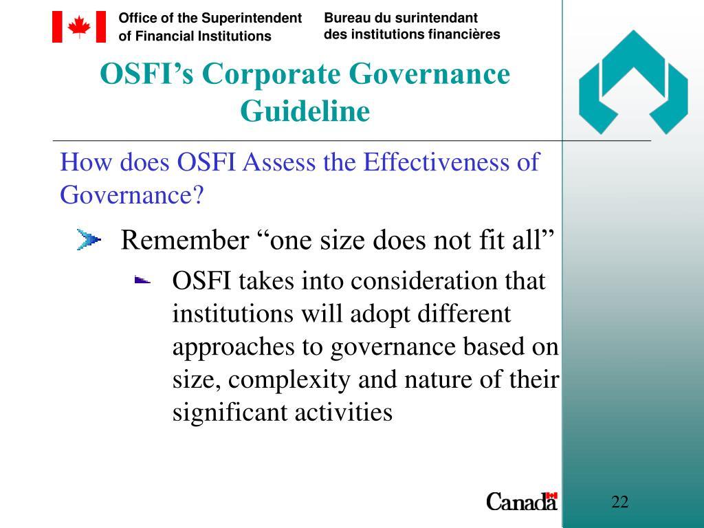 OSFI's Corporate Governance Guideline