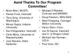 aand thanks to our program committee