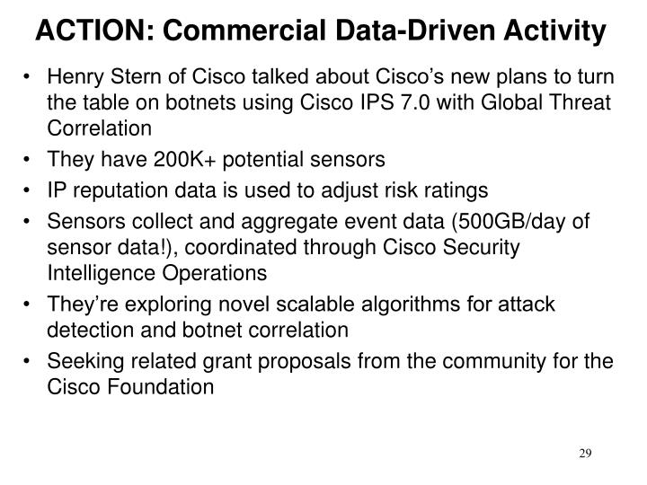 ACTION: Commercial Data-Driven Activity
