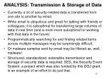 analysis transmission storage of data