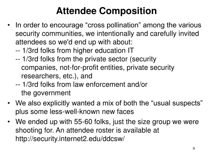 Attendee Composition