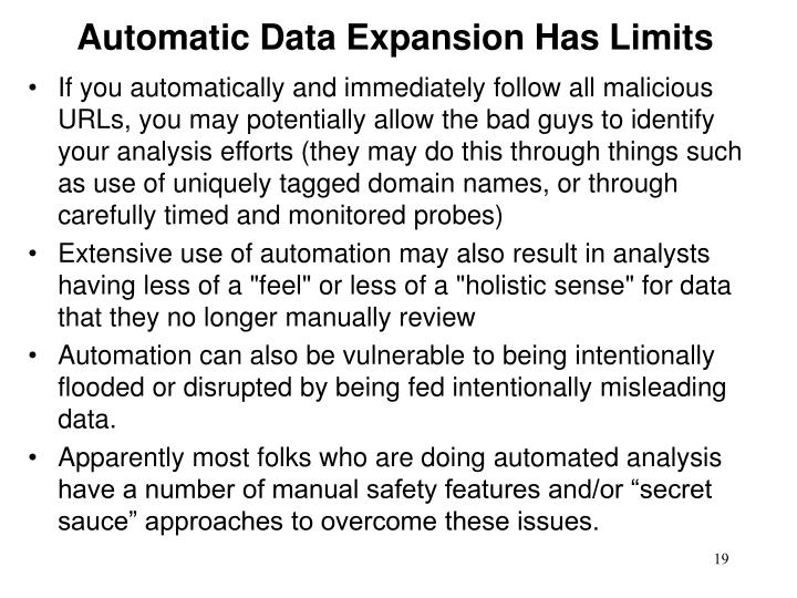 Automatic Data Expansion Has Limits