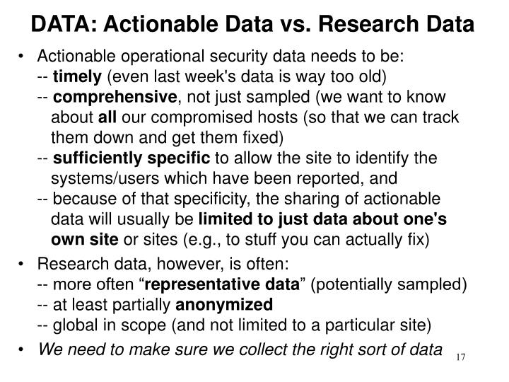DATA: Actionable Data vs. Research Data