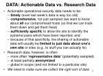 data actionable data vs research data