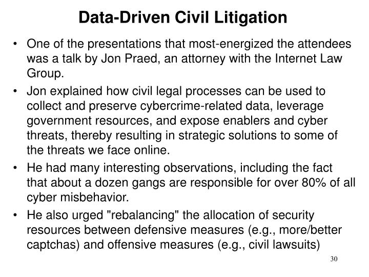 Data-Driven Civil Litigation