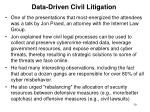 data driven civil litigation