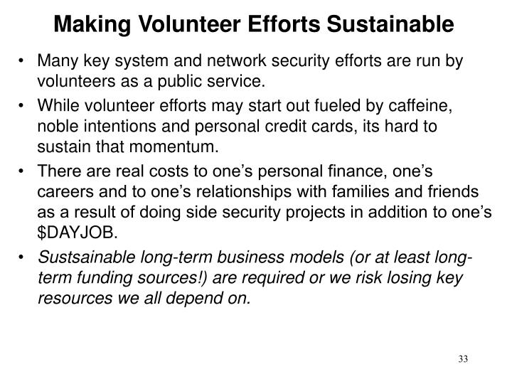 Making Volunteer Efforts Sustainable
