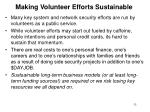 making volunteer efforts sustainable
