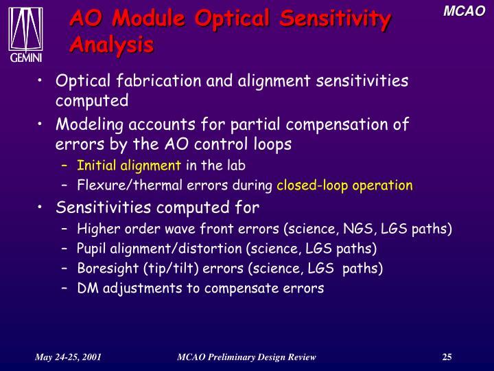 AO Module Optical Sensitivity Analysis