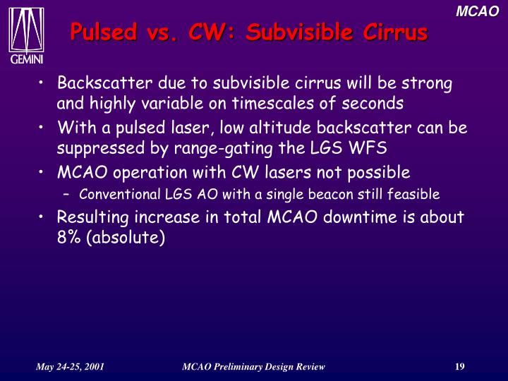Pulsed vs. CW: Subvisible Cirrus
