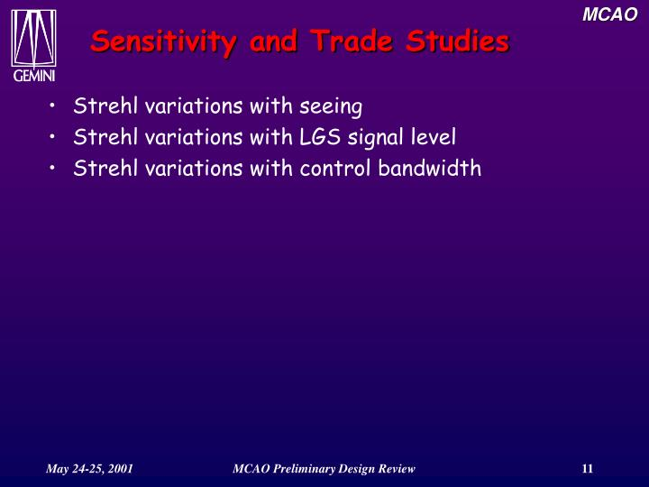 Sensitivity and Trade Studies