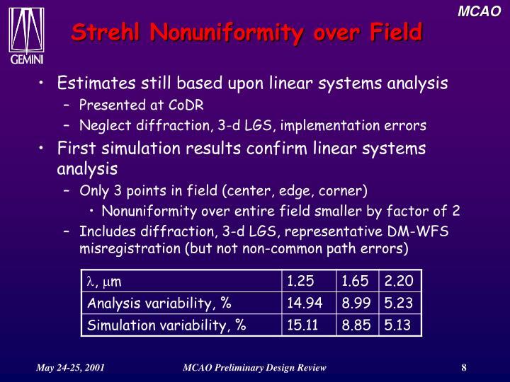 Strehl Nonuniformity over Field