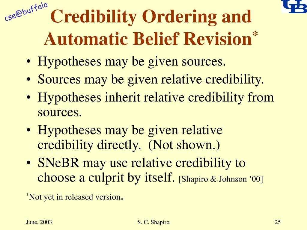 Credibility Ordering and Automatic Belief Revision