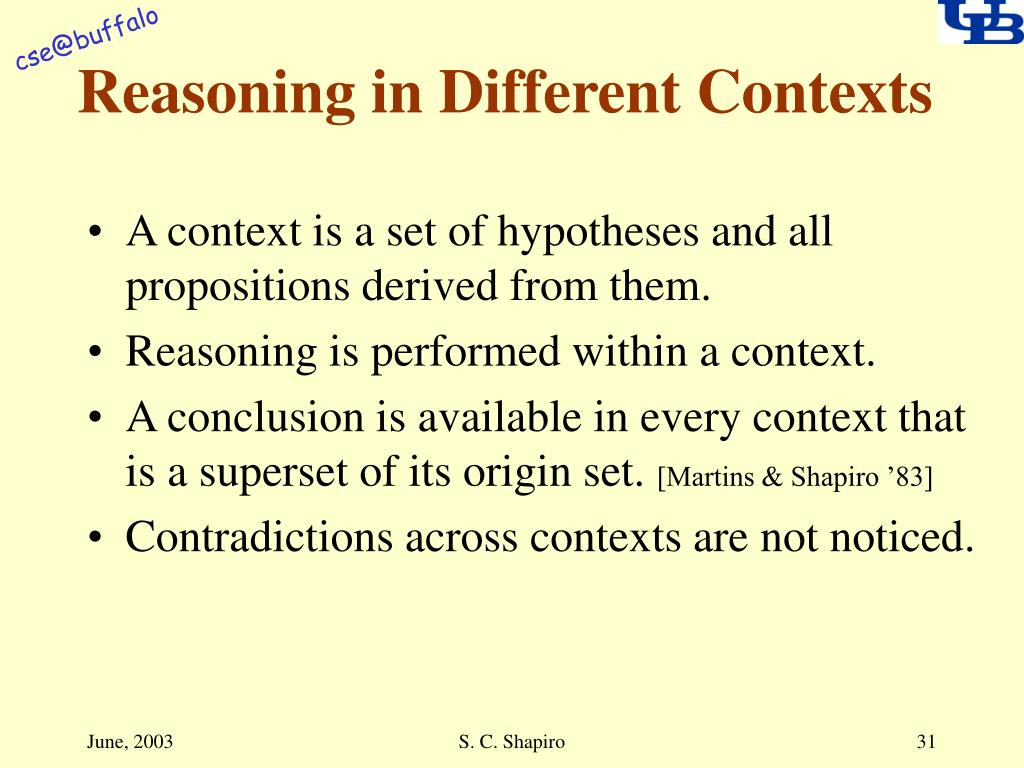 Reasoning in Different Contexts