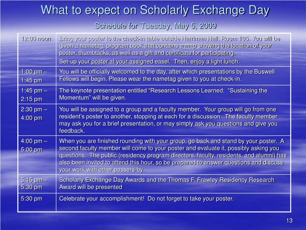 What to expect on Scholarly Exchange Day