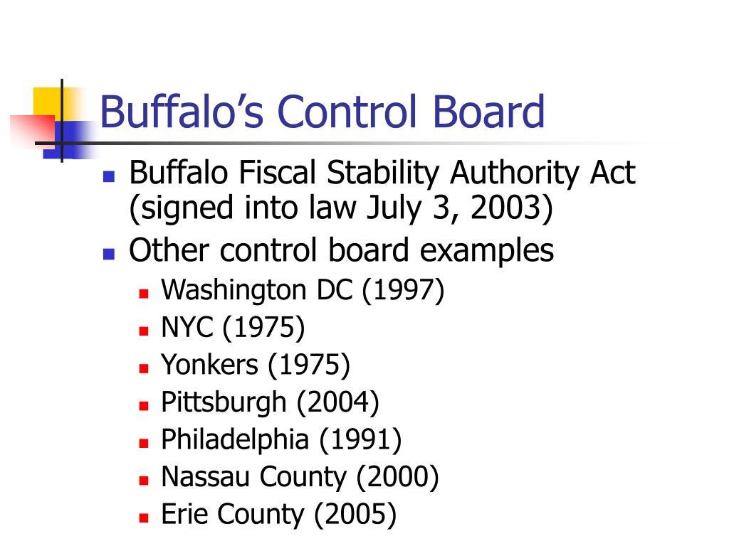 Buffalo's Control Board