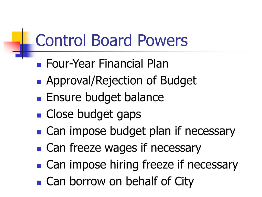Control Board Powers