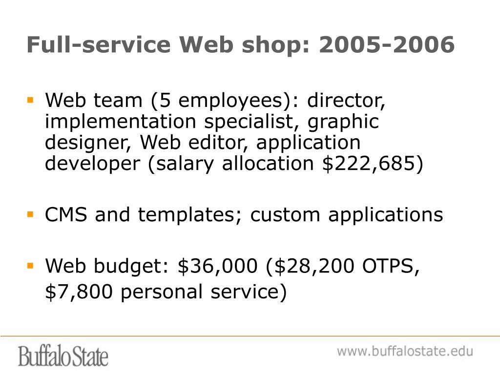 Full-service Web shop: 2005-2006