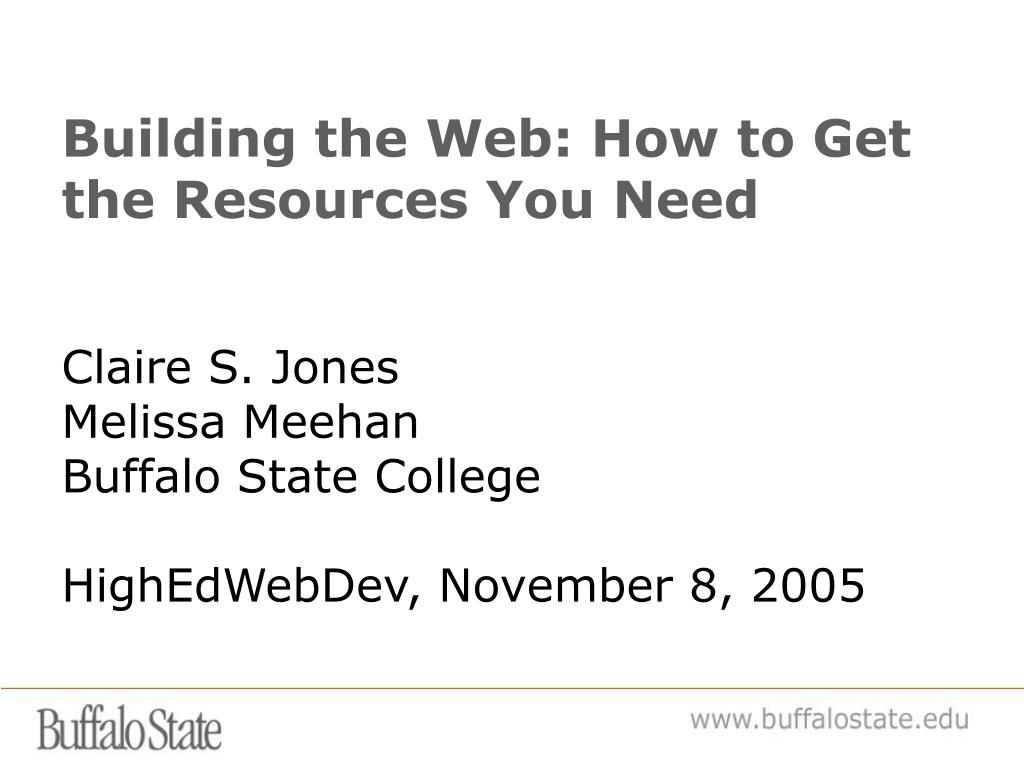 Building the Web: How to Get the Resources You Need