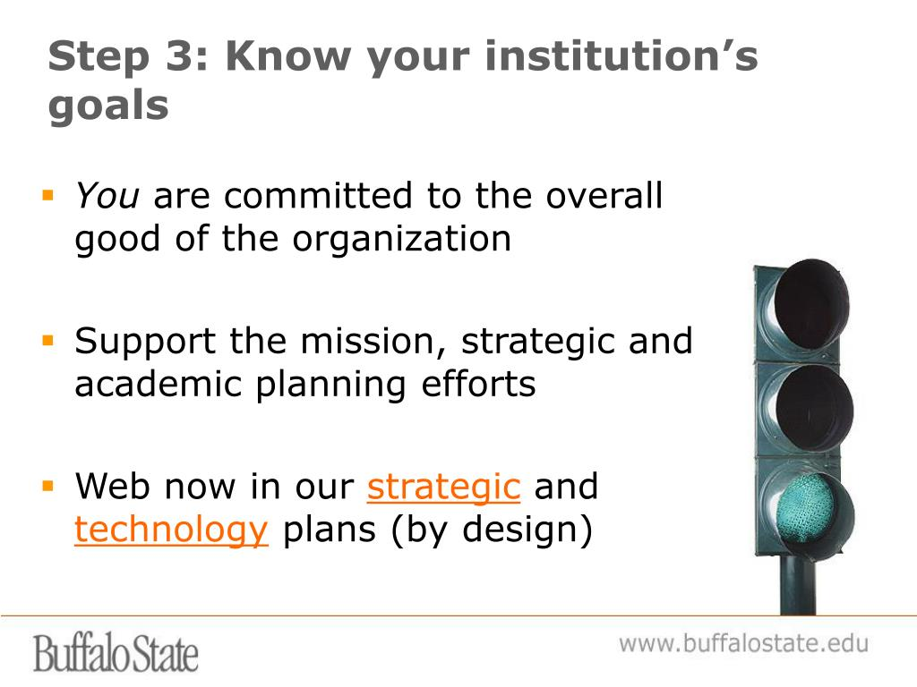 Step 3: Know your institution's goals