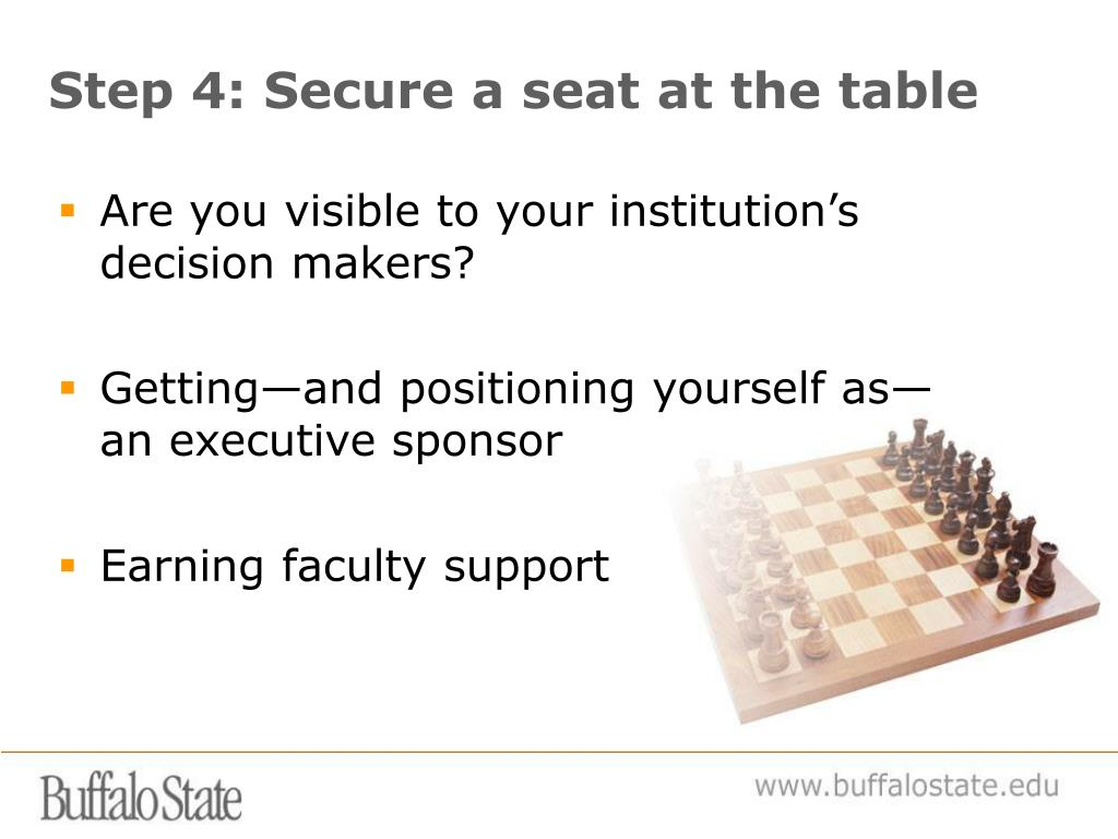 Step 4: Secure a seat at the table