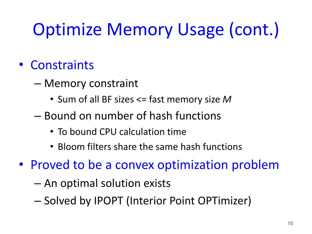 Optimize Memory Usage (cont.)