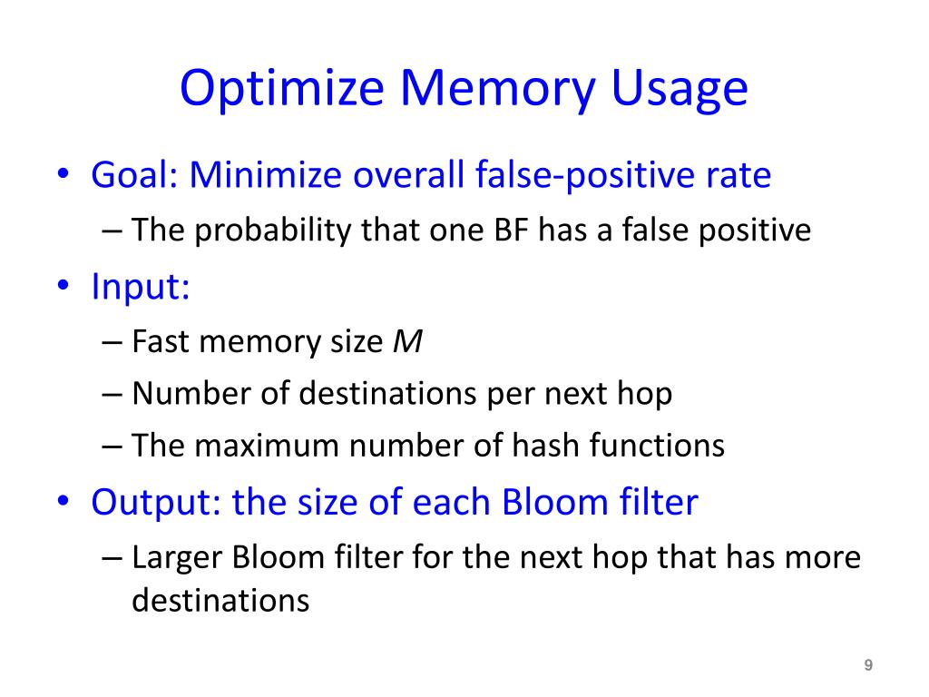 Optimize Memory Usage