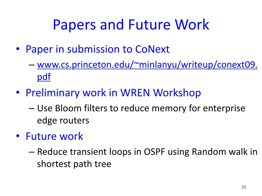 Papers and Future Work