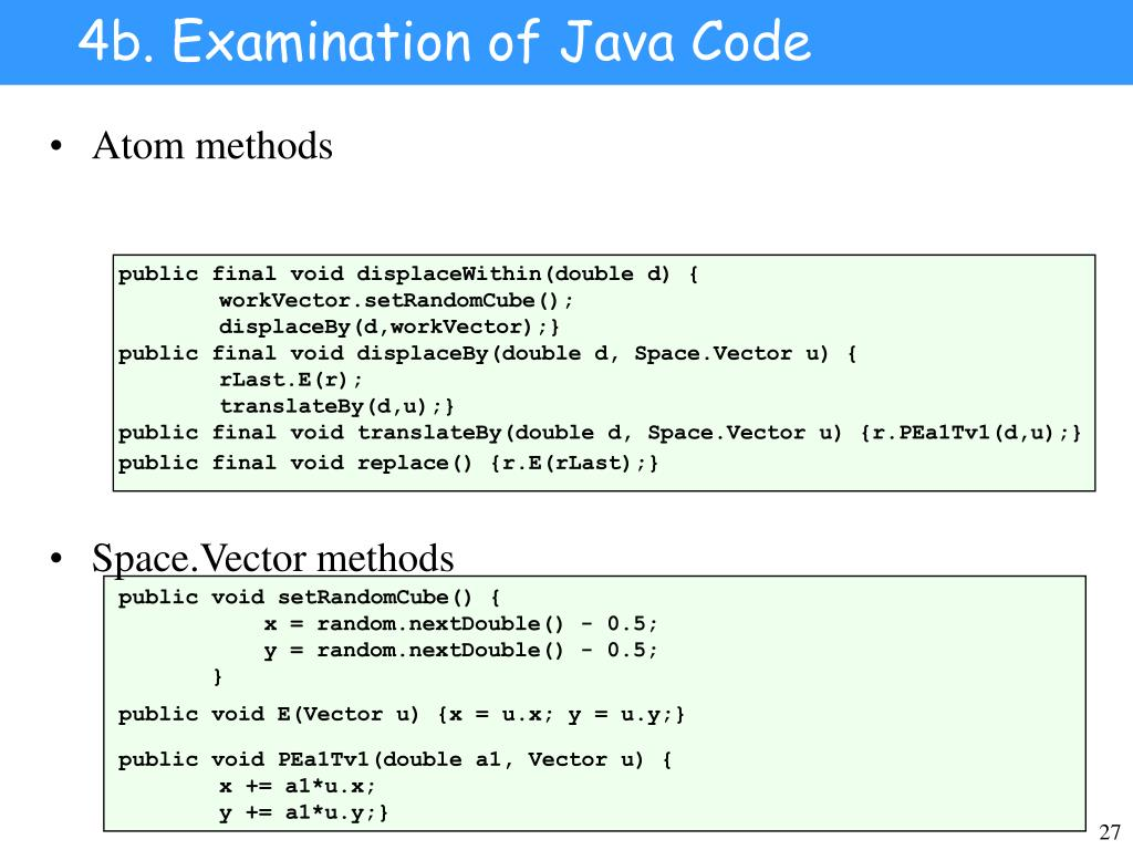 4b. Examination of Java Code