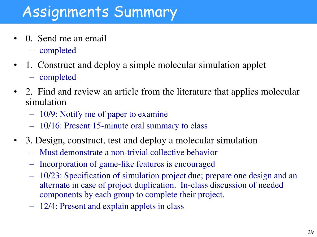 Assignments Summary