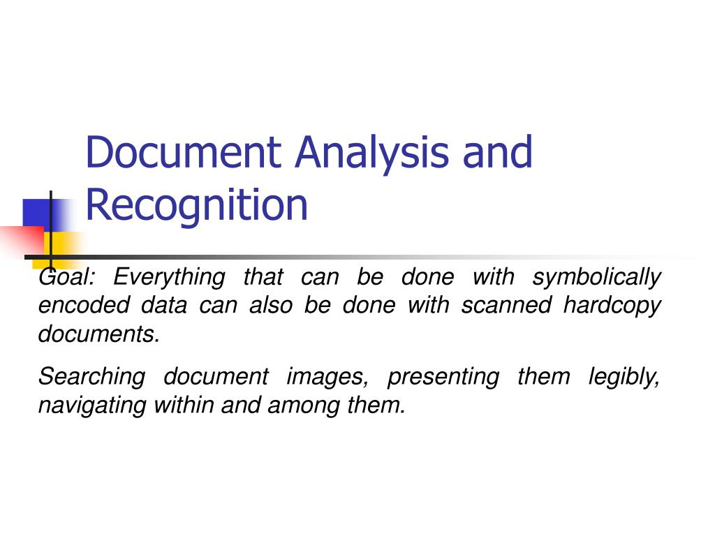 Document Analysis and Recognition
