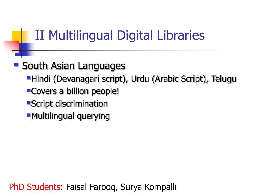 II Multilingual Digital Libraries