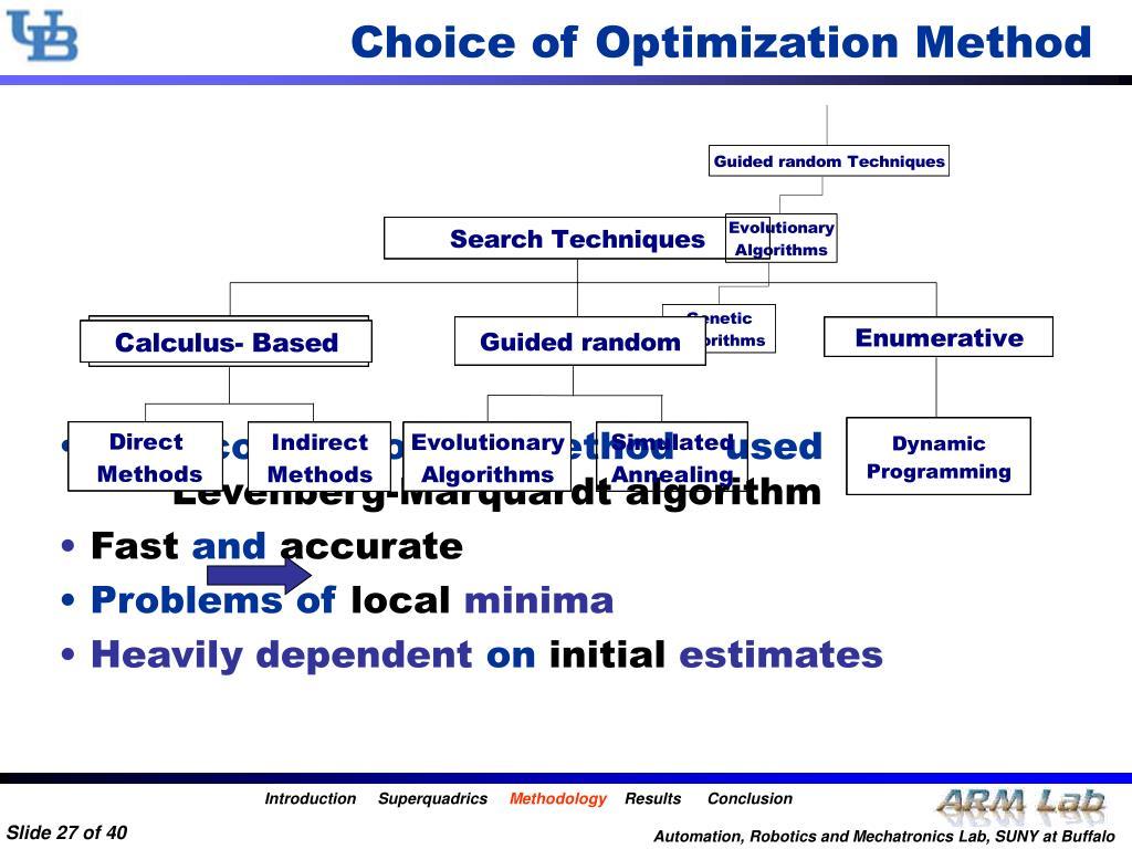 Choice of Optimization Method