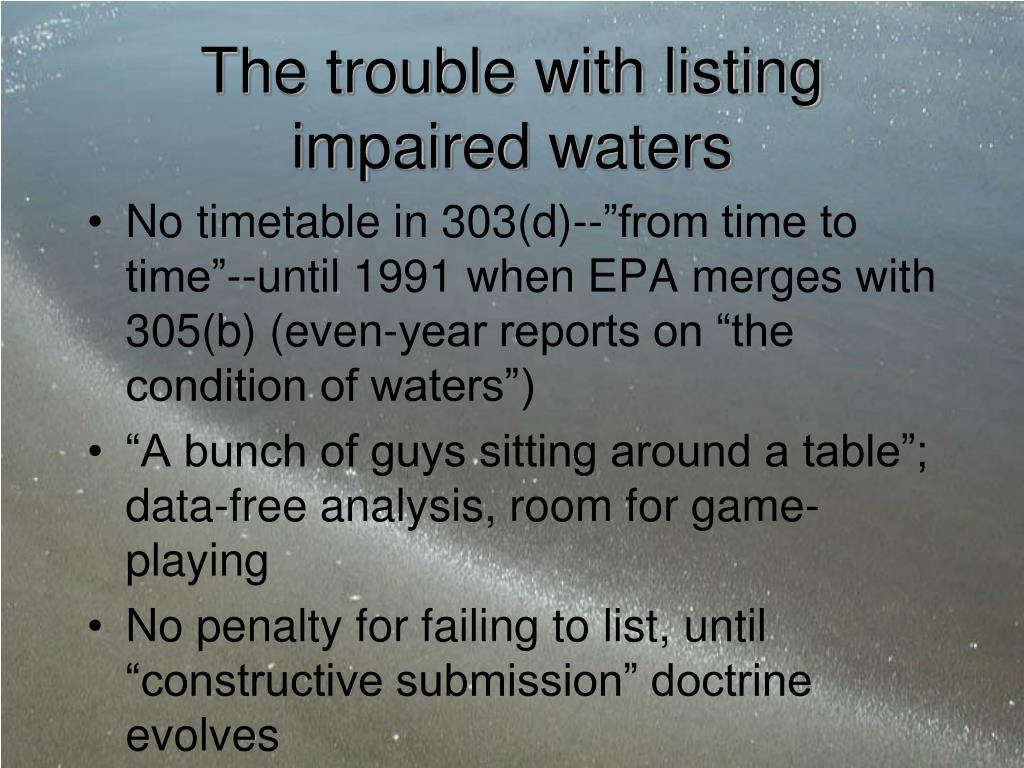 The trouble with listing impaired waters