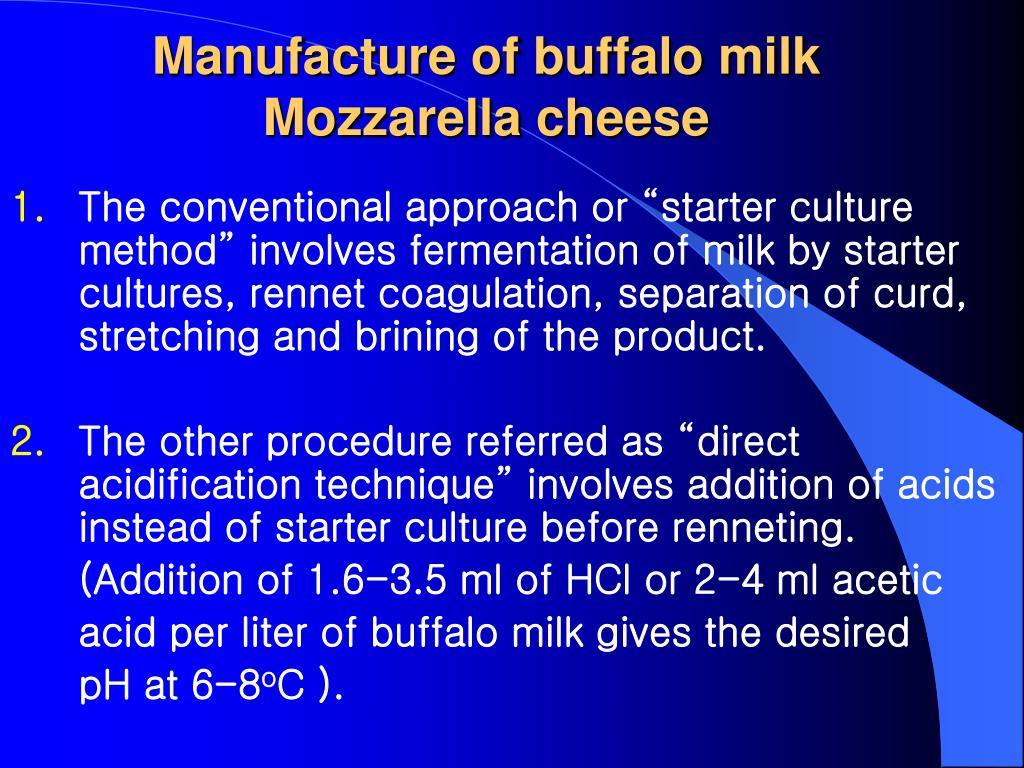 Manufacture of buffalo milk Mozzarella cheese