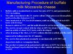 manufacturing procedure of buffalo milk mozzarella cheese